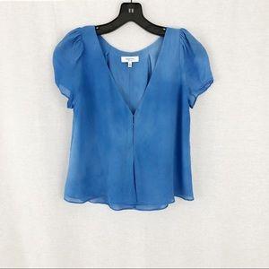 Babaton Silk Pastel Blue Long Crop Blouse